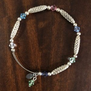 Jewelry - Silver bangle with pastel beads